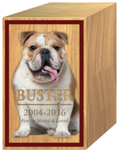 Wood Urn Pet Buster the Dog