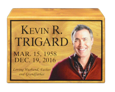Kevin Trigard Wood Urn With Picture Head On (cut Out Modified)